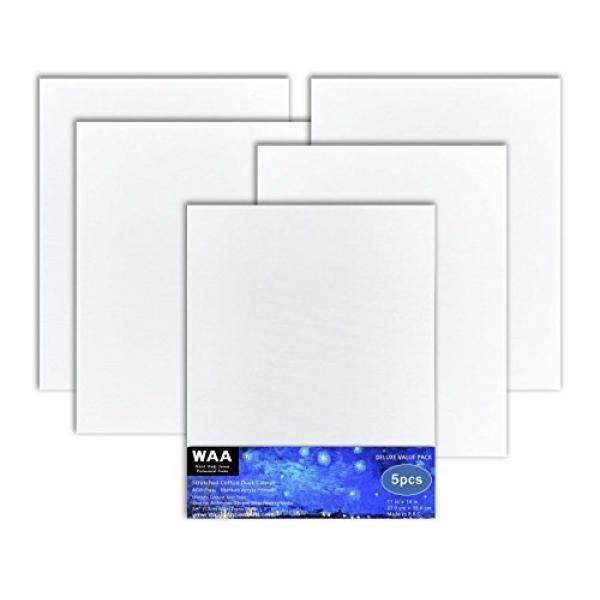 11 x 14 inch Acid Free Artist Stretched Canvas, Luxury Made Affordable! 100% Cotton Triple Titanium Acrylic Primed, Pack of 5, By World Ancient Arts - intl