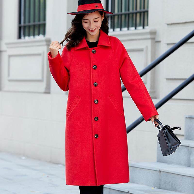 Panjang Mode untuk Wanita Luaran Jaket Merah Malam Tanggal Pernikahan Mantel Musim Dingin Hangat Wanita Mantel