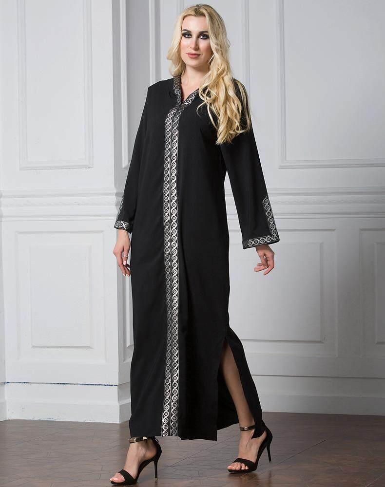 Arab Kostum Timur Tengah Turki Sisi Split Rok Bertudung Ibadah Gamis Muslim Ramadan-Intl