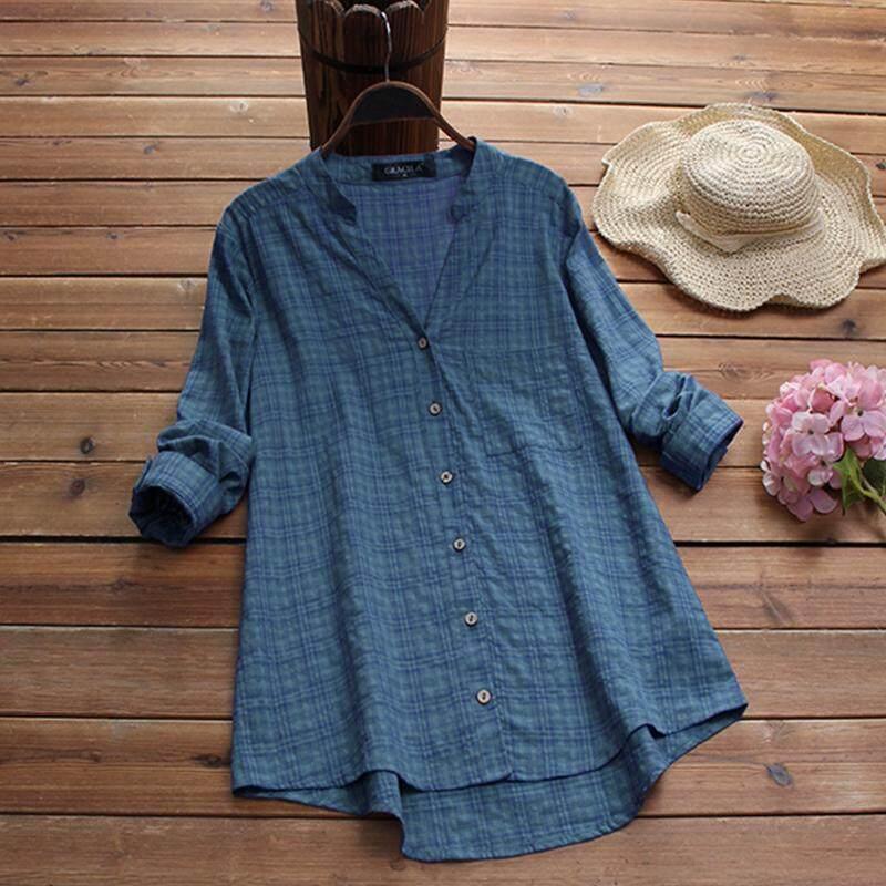 e0a231893f7f Gracila Plus Size Women Plaid Check Casual Shirt Tops Buttons Down Asymmetrical  Blouse