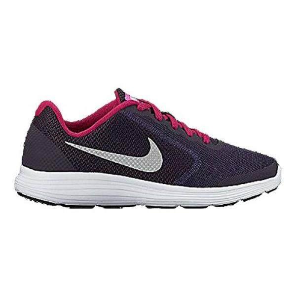 NIKE Perempuan REVOLUTION 3 (GS) Sepatu Lari, Dinasti Ungu/Metalik Perak, 4 M AS Besar Anak-Internasional