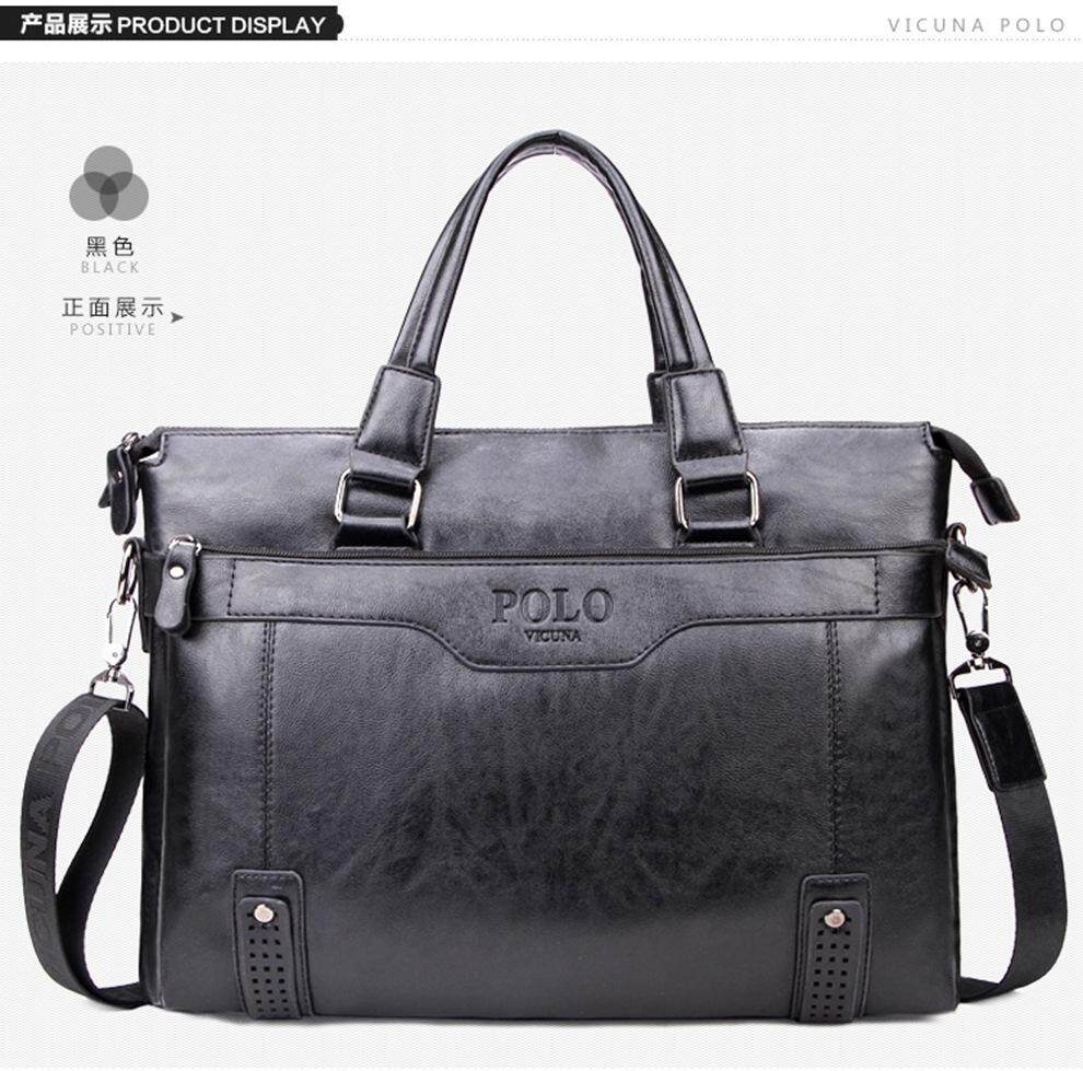 VICUNA POLO High Capacity Hollow Out Bottom Men s Leather Briefcase Bag For  14   Laptop 03dfb375d1e20