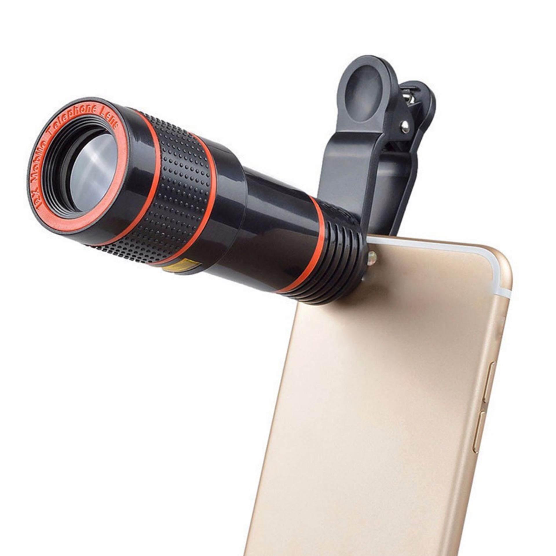 Clip-On 12X Optical Zoom Teropong Definisi Tinggi Lensa Kamera untuk Universal Telepon Seluler Hitam-Intl