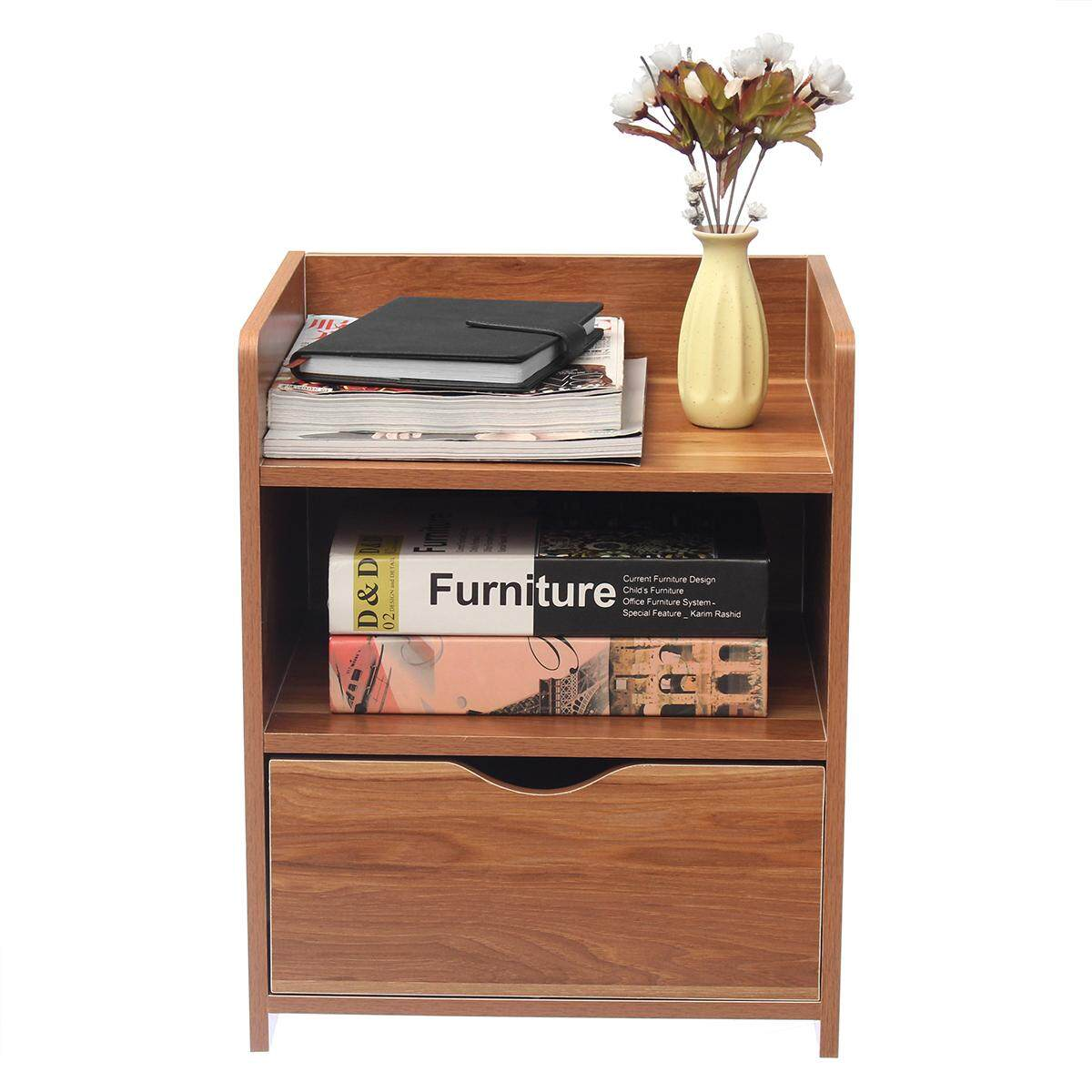 Modern Wooden Bedside Table Nightstand Storage Bedroom Cabinet Shelf Units - intl
