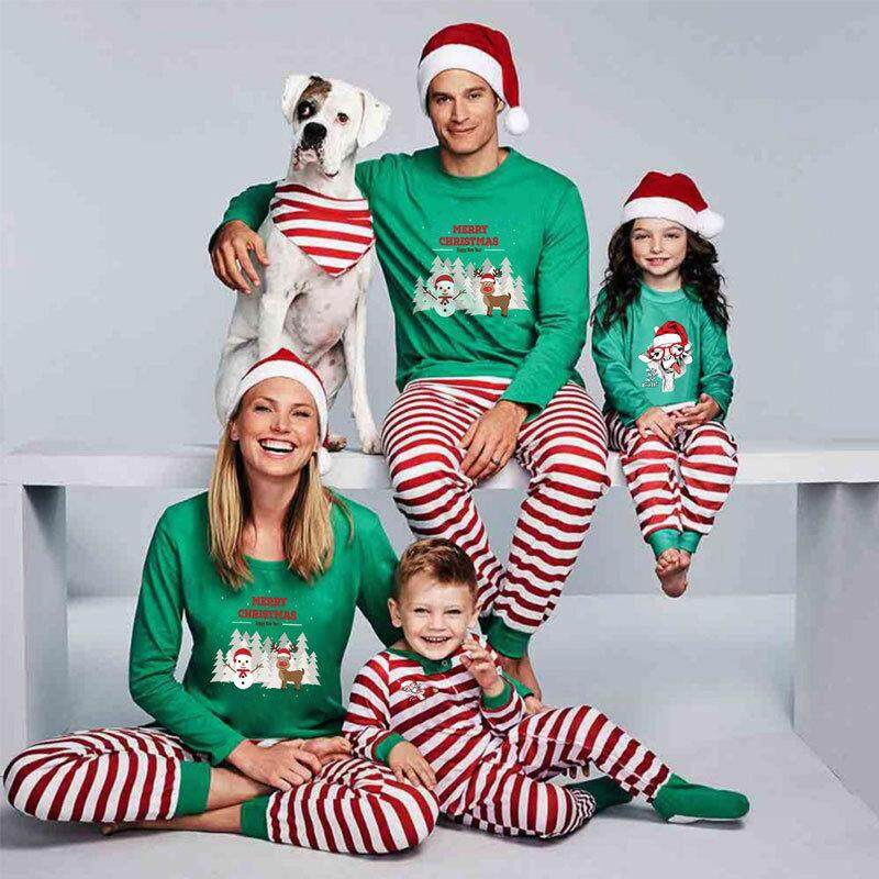 3d644a0c0e Family Matching Kids Mom Dad Christmas Pajamas Sets Xmas Sleepwear (Women)