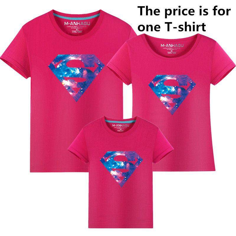 Summer Style Superman Mother and Daughter Father and Son Clothes Mommy and  Me Clothes Family Matching b5359ffc9bd