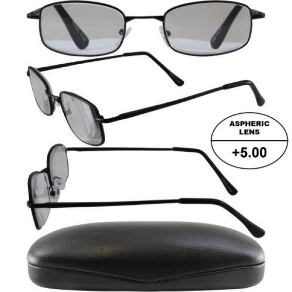 Pria Bertenaga Tinggi Kacamata untuk Membaca: Matte Hitam Frame dan Hitam Case + 5.00 Pembesaran Aspherical Lensa/dari Amerika Serikat