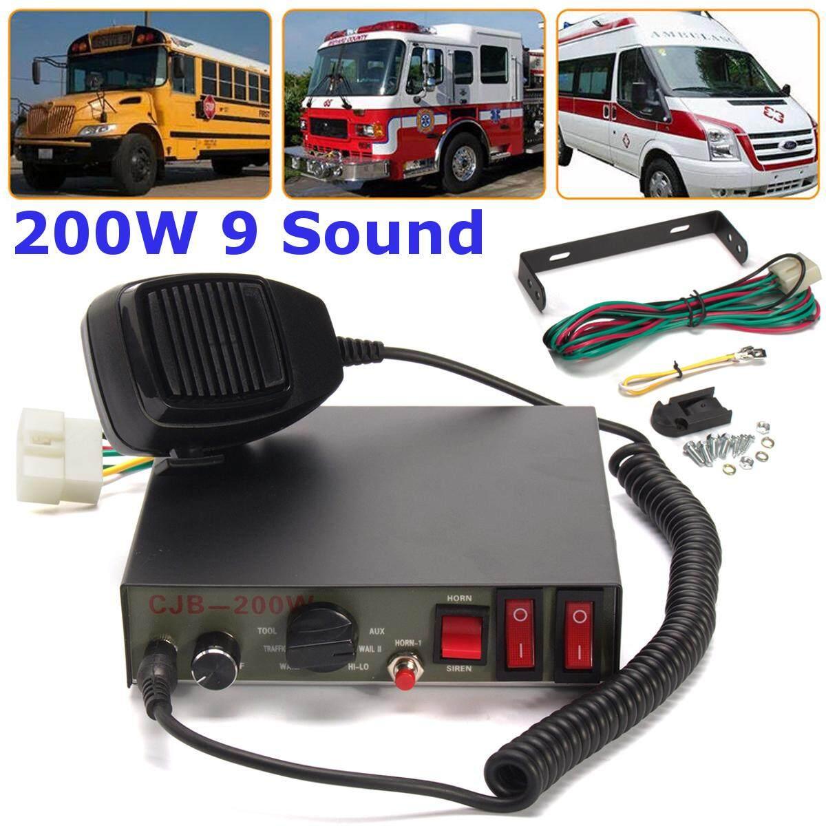 200 W 9-Nada Suara Keras Mobil Peringatan Truk Alarm Polisi Speaker Sirene Klakson MIC Sistem