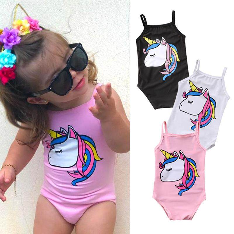 74b484622f Newborn Kid Baby Girl Unicorn Swimwear One-piece Swimsuit Bathing Beachwear