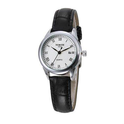 NORTH 60191Gold Fashion Casual 30M Waterproof Genuine Leather Female Lady Clock Gold Quartz Business Wristwatch Women