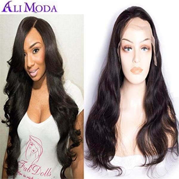 Gelang Ali Moda 180% Density Malaysia 360 Full Wig Ikat Depan Digunakan Dipetik Tubuh Gelombang Rambut Manusia Perawan dengan Rambut Bayi Alami Rambut 16 Inch-Intl