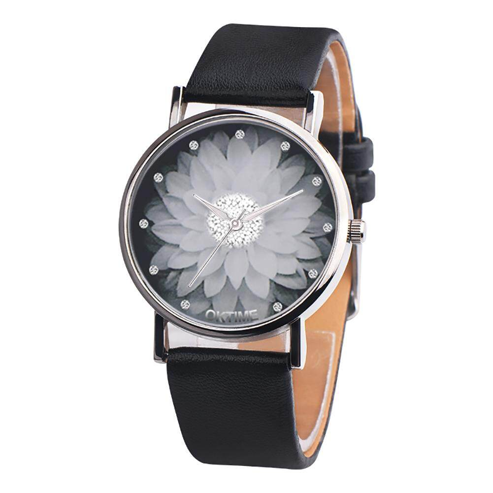 Sanwood® Fashion Lotus Flower Faux Leather Quartz Wrist Watch Unisex Bracelet Party Gift (Black) Malaysia