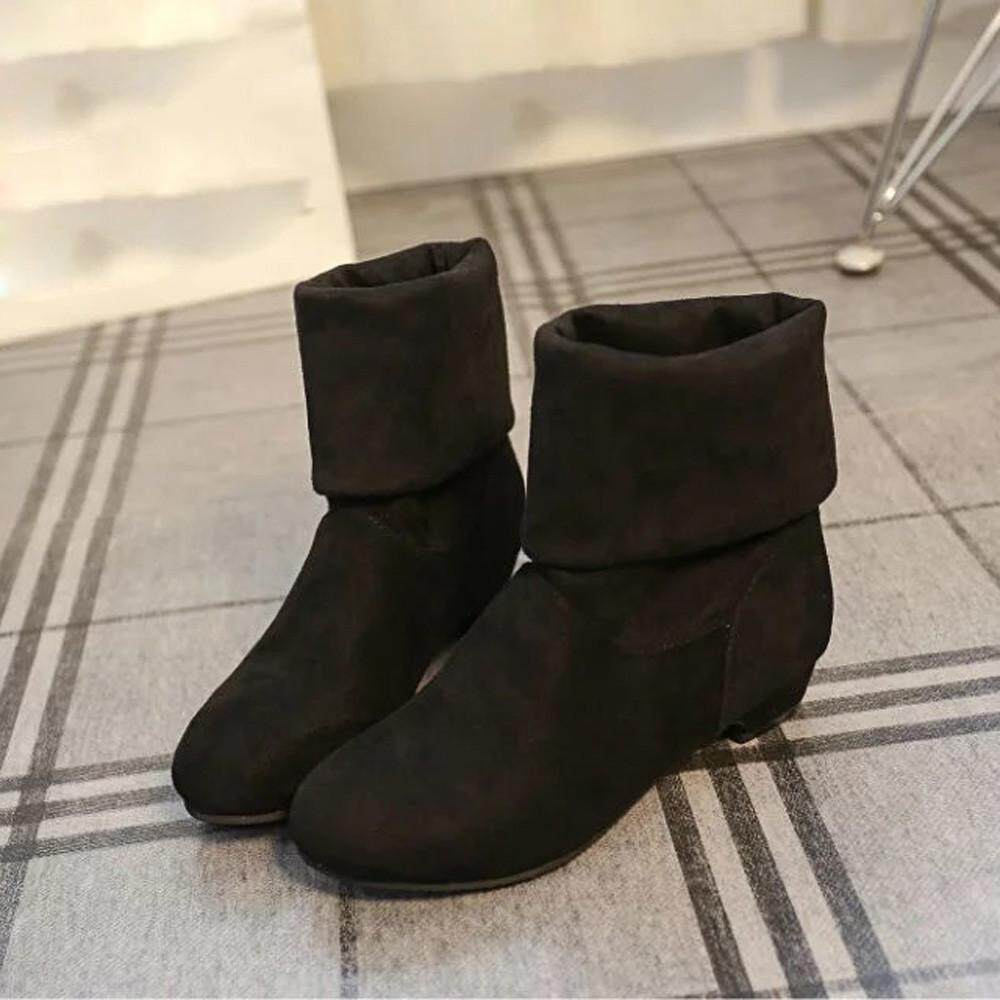 (Audestore) Autumn Winter Boots Women Sweet Boot Stylish Flat Flock Shoes  Snow Boots free 9f2c8d2cf2