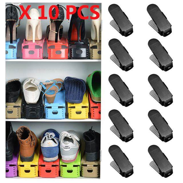 10pcs/lot Plastic Shoes Cabinet Storage Shelf Shoes Rack Double Layer Holder Shoes Organizer Space Saving Shoe Stand Adjustable - intl
