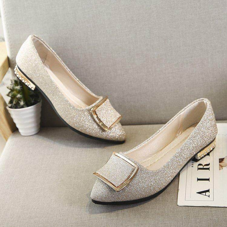 538cd5abb 2018Newest Fashion Flats Shoes Pearls Diamond Flats Woman Shoes Ballet  Flats White Wedding Shoes Plus Size