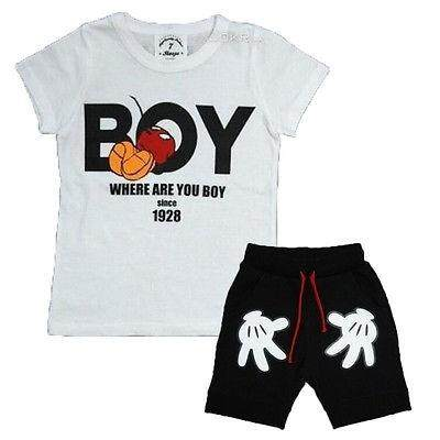 New Lovely Baby Kids Boys 2pcs T-Shirt + Shorts Suits Cartoon Children's Clothing Sets