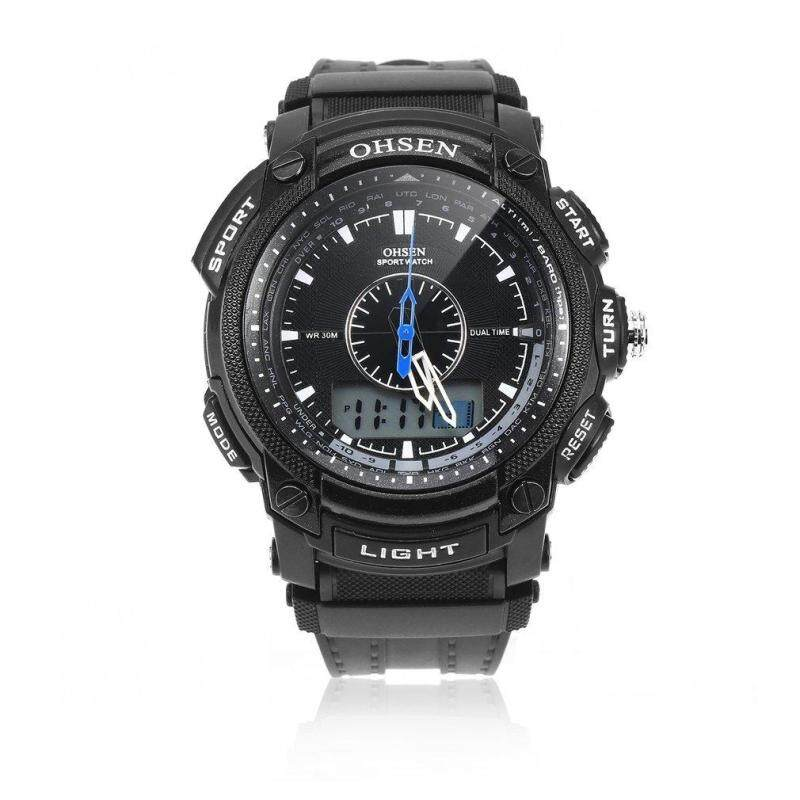 OHSEN Black Waterproof Digital LCD Day Alarm Mens Military Sport Rubber Watch Malaysia