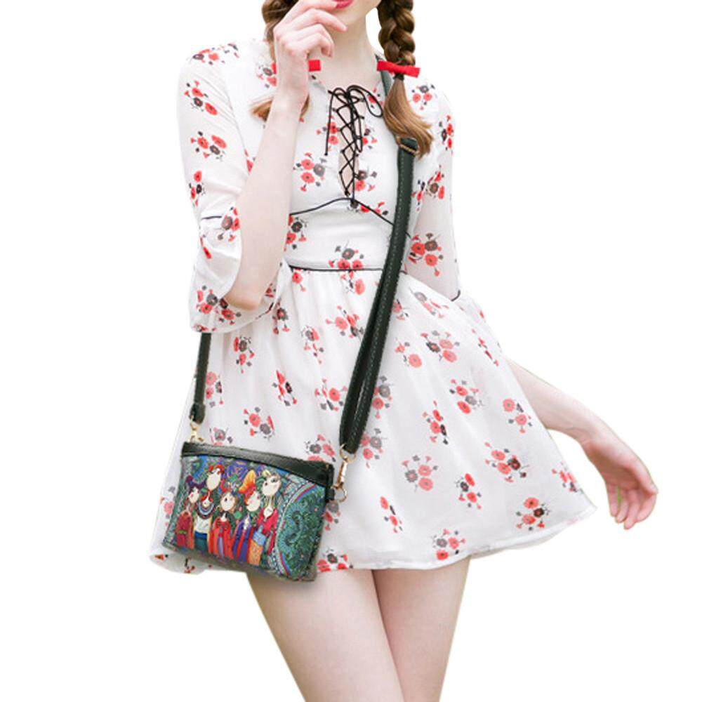 ร้อยเอ็ด Petenies Women Forest Girls Pattern Printing Single Shoulder Bag  And Rectangle Handbag