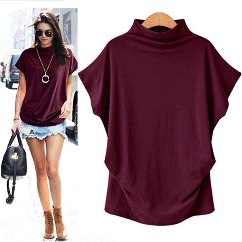 e628cff5bf Vernonstore_Women Turtleneck Short Sleeve Cotton Solid Casual Blouse Top T  Shirt Plus Size