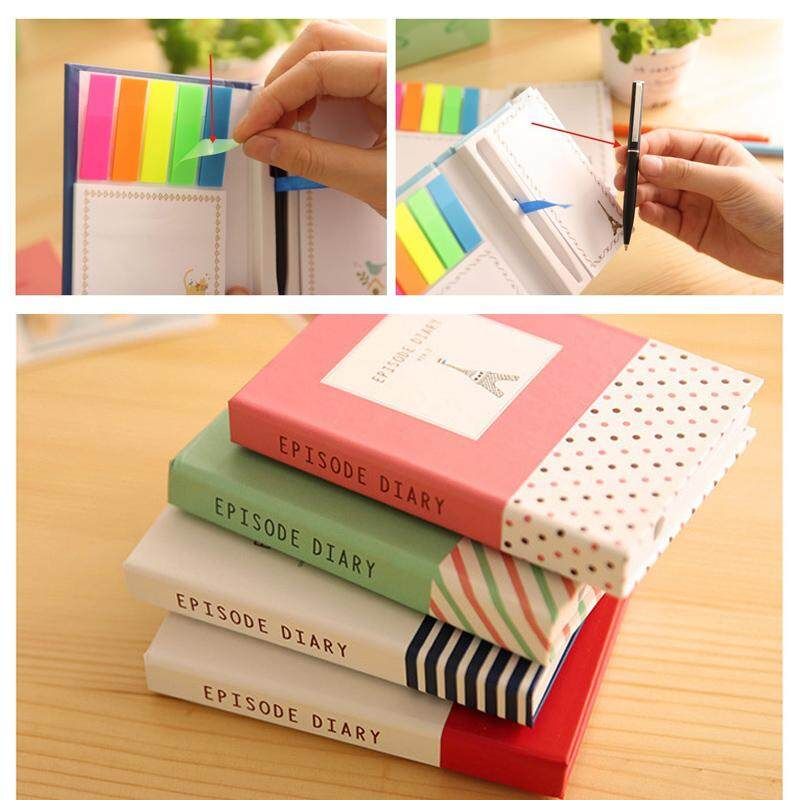 Mua Portable Mini Notebook Hardcover 3 in 1 Sticky Notes Pen Pocketbook Notebook Pocket Cute Notepad School Stationery
