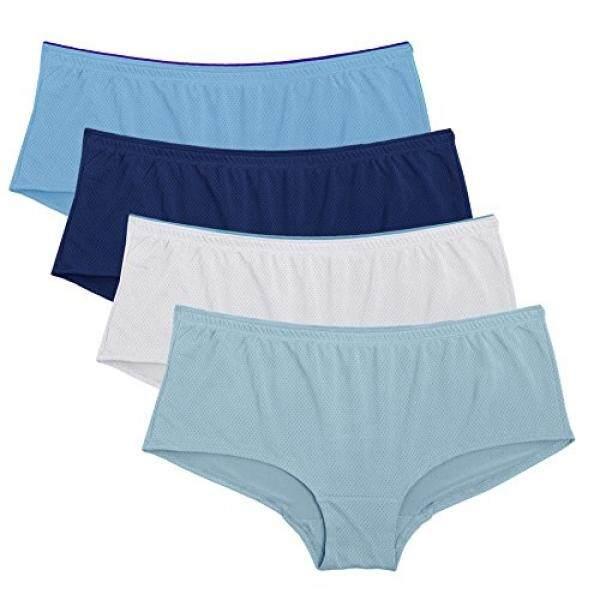 Fruit of the Loom Womens 4 Pack Breathable Boyshort Panties, Assorted/6 - intl