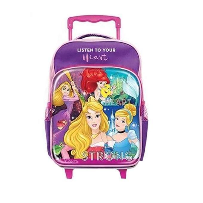 Disney Princess Pre School Kindergarten Nursery Kids Children School Trolley Bag - Purple Colour