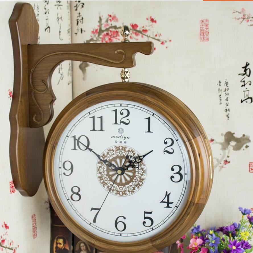44X36 Cm Ruang Duduk dari Kayu Bergaya Cina Jam Dinding Dikontrak Jam Dinding Besar Memulihkan Cara