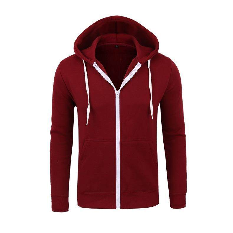 New Sweater Zipper Hooded Sweater Jacket Men's Solid Color Cardigan