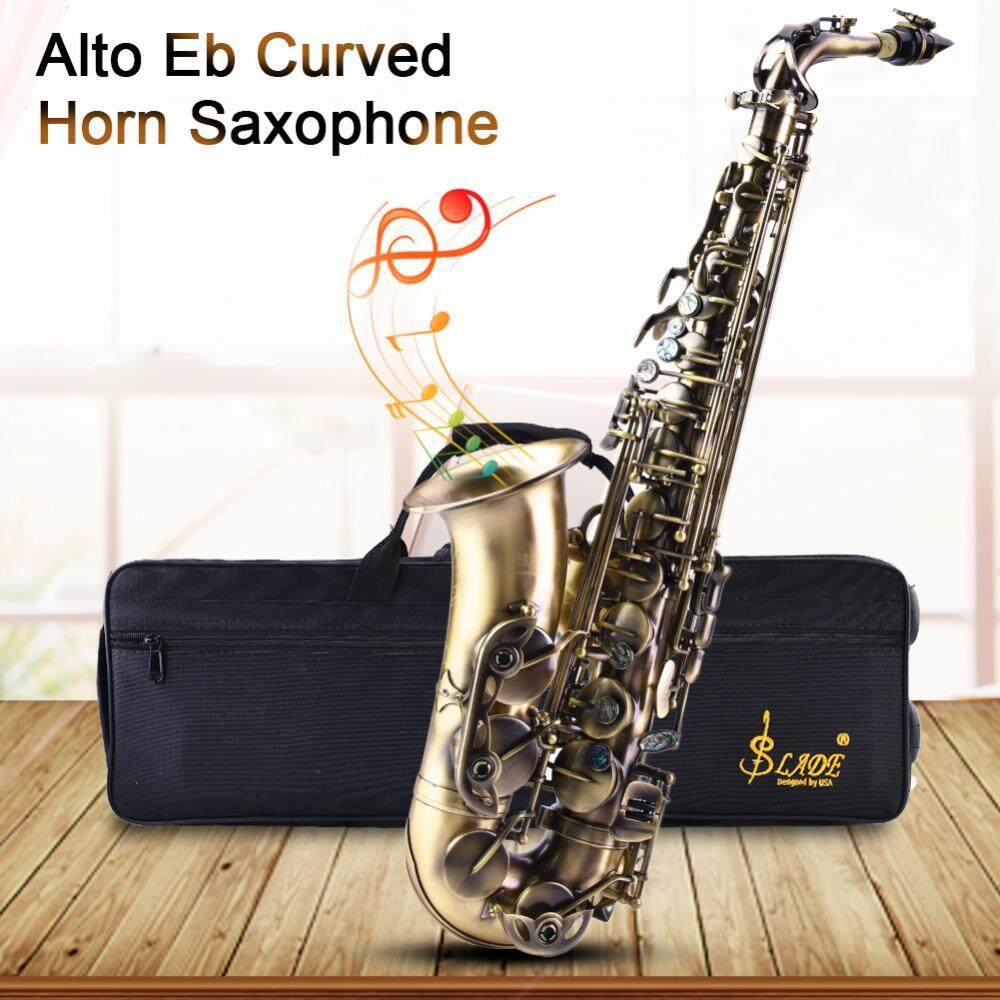 ... Retro Style Bronze Alto Eb Saxophone Curved Horn Sax Instrument with Bag Strap Kit - 3 ...