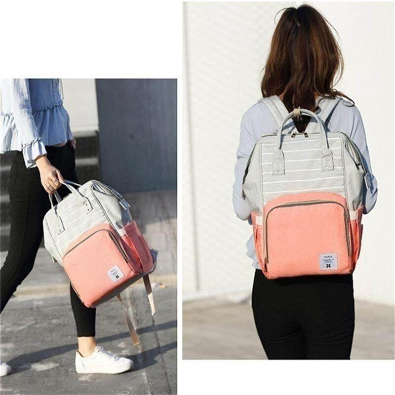 Berurusan Raja Pink fashion diapers large-capacity multi-function care bag  children travel striped backpack baby diaper bag feeding bottle treasure  mother ... 095887ff4da99