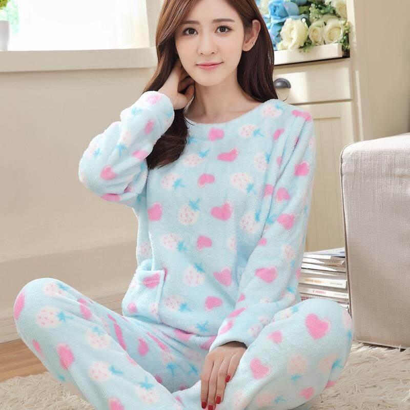 Summer Autumn Winter Women Pajama Sets Coral Fleece Nighty Sleepwear Cute  Cartoon Dog Pattern Pajamas Nightwear 3536211c738d