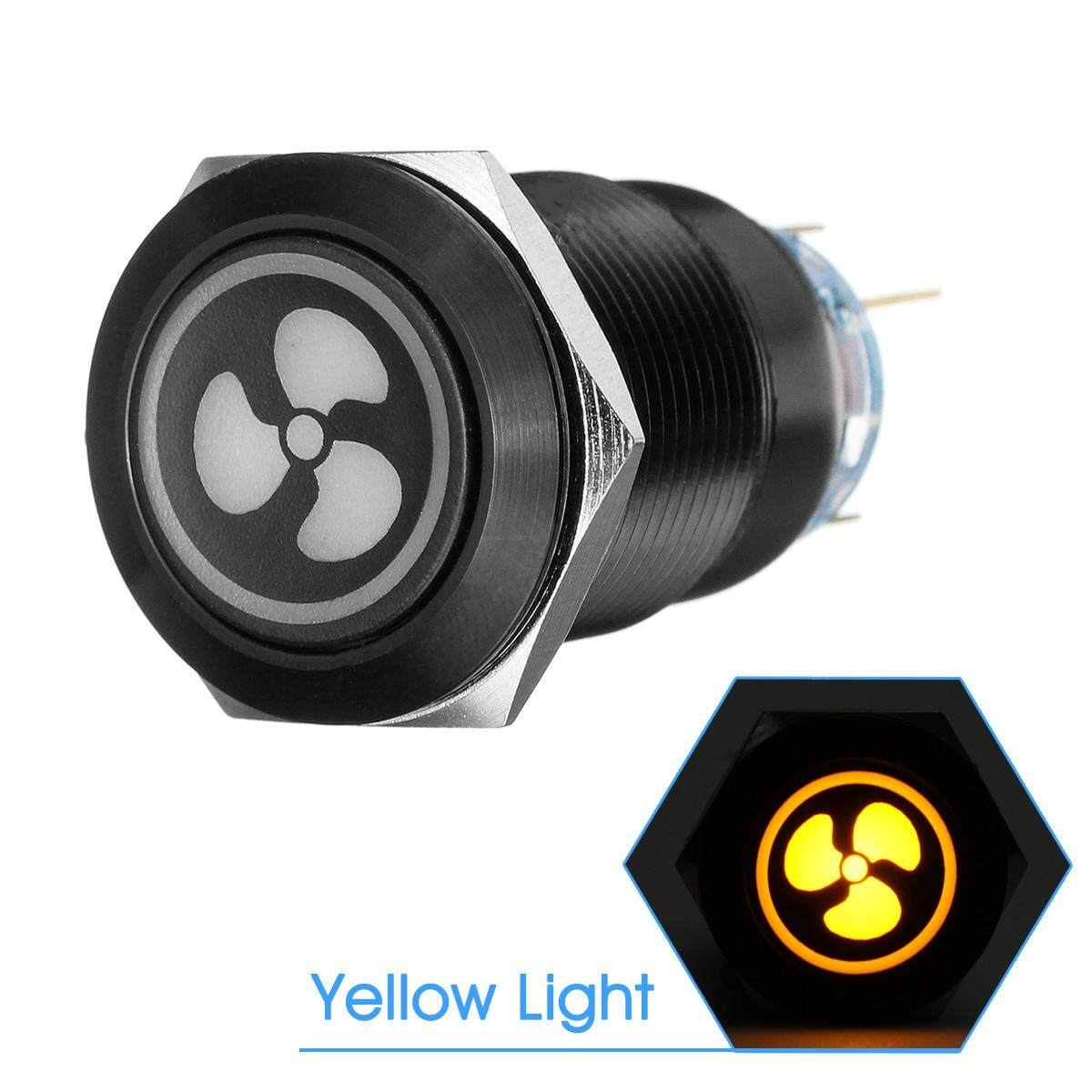 1 Pcs Details About Fan 12v Led On-Off Stainless St Push Button Custom Panel Light Switch Yellow By Haldis.