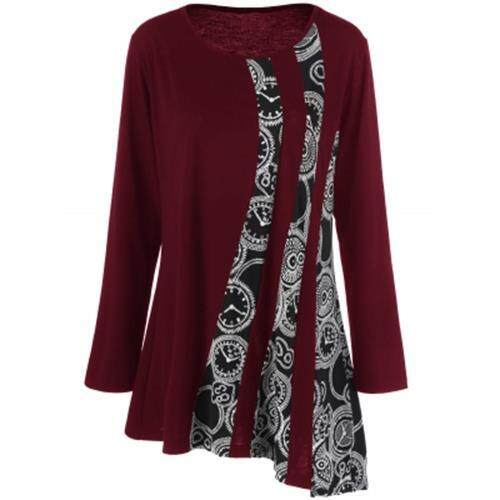 PLUS SIZE PRINTED ASYMMETRIC TUNIC T-SHIRT (DEEP RED)