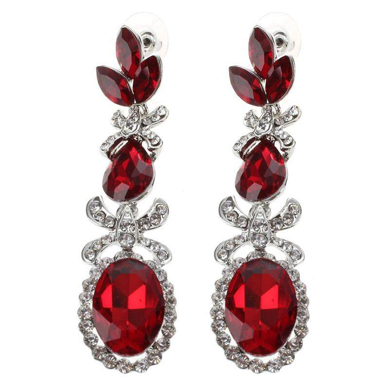 Vintage Long Black Crystal Earrings Fashion Jewelry For Women Red