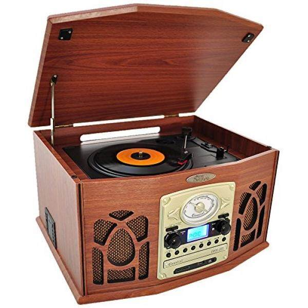 Pyle Vintage Turntable - Retro Vinyl Stereo System With Bluetooth, Cassette  and CD Player, USB Recorder, SD Card and Speakers-Record AM/FM Radio and