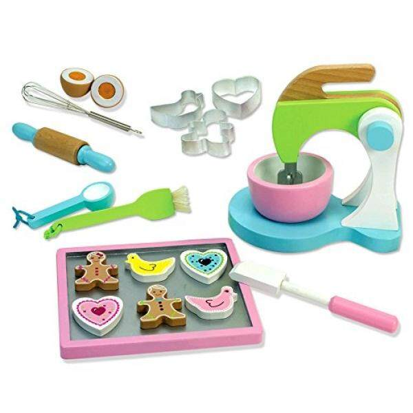 Childrens Wooden Play & Pretend Food Set, Cookie Baking Set with Cookies, Tray, Bowl, Mixer & More! Wood Play Food Cookie Baking Set - intl