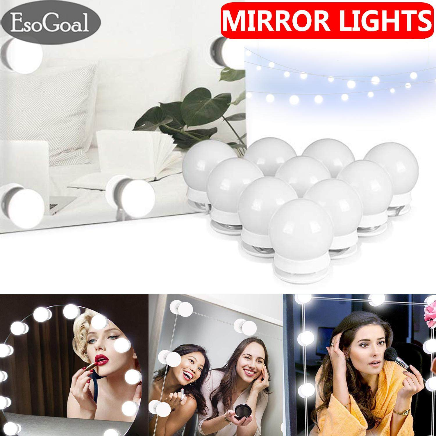 EsoGoal Mirror Lights Vanity Mirror Light Make Up Mirror LED Light Lamp Kit Makeup Mirror Light Hollywood Style Lighting Fixture Strip LED Bulb Mirror Light for Makeup Vanity Dressing Table Philippines