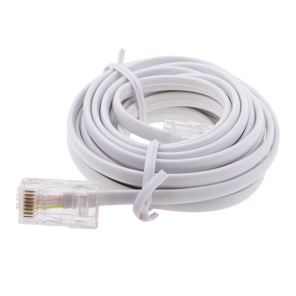 MagiDeal 3m RJ11 6P4C to RJ45 8P4C White Telephone Connector Plug Cable for Connecting Phone Line to the Internet, RJ11 ADSL to Ethernet RJ45 Modem Cable