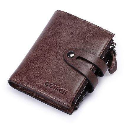 65078b62c977 Fashion Men Purse Short Split Leather Wallet 2018 New Man s Wallets Boys  Zipper Coin Purses Male