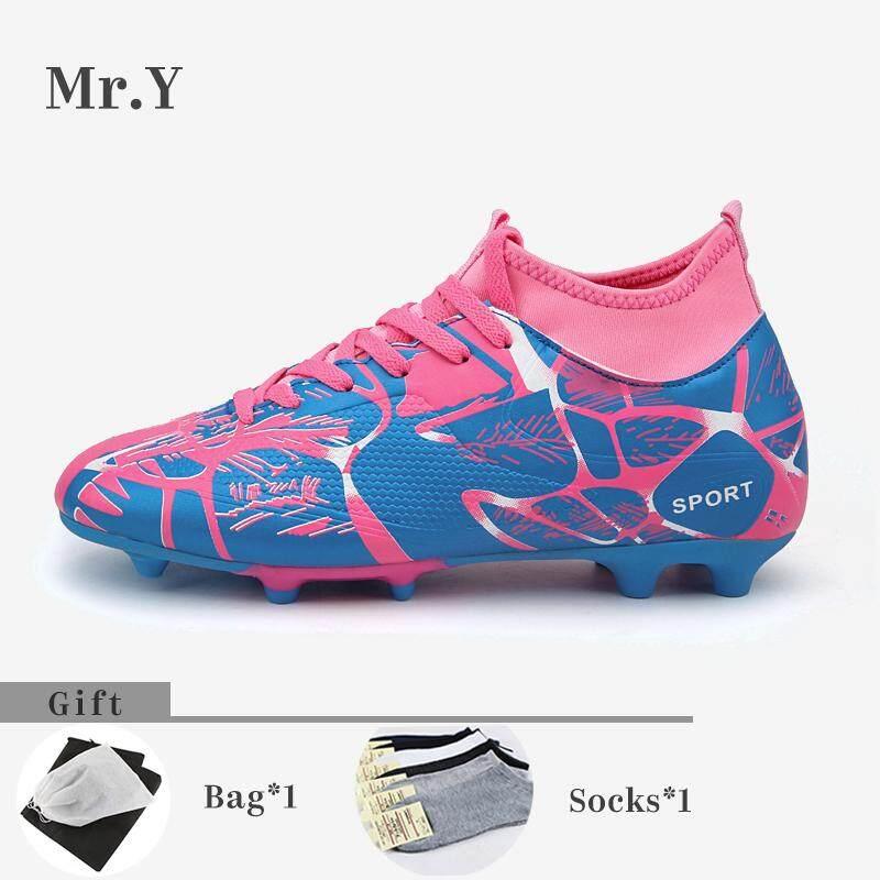 743379b0a5b3 Mr.Y Men High Top Soccer Shoes AG Outdoor Kids Soccer Boots Kasut Bola Sepak