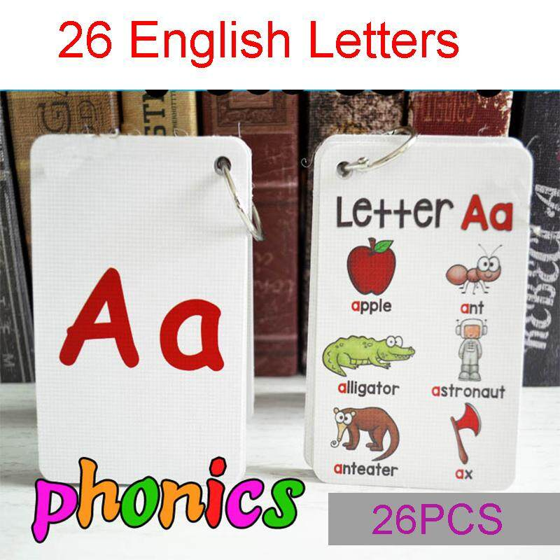 26 Letters Alphabet Letter English Phonics Pocket Cards Baby Montessori Learning English Word Card Flashcards Educational Toys For Kids By Twins Girl.
