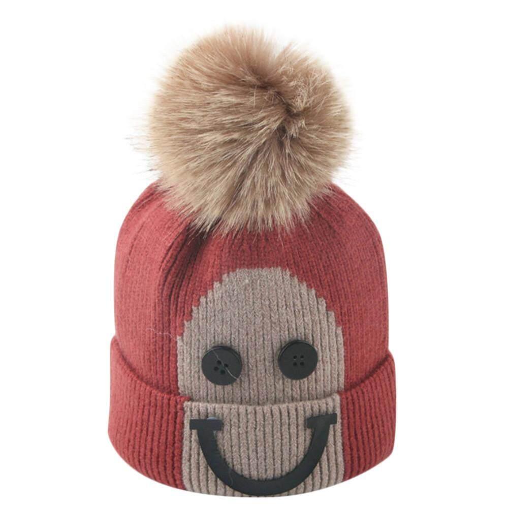 Balita Gadis dan Bayi Laki-laki Musim Dingin Senyum Crochet Topi Kupluk Rajut  Topi Hairball c4421a116e