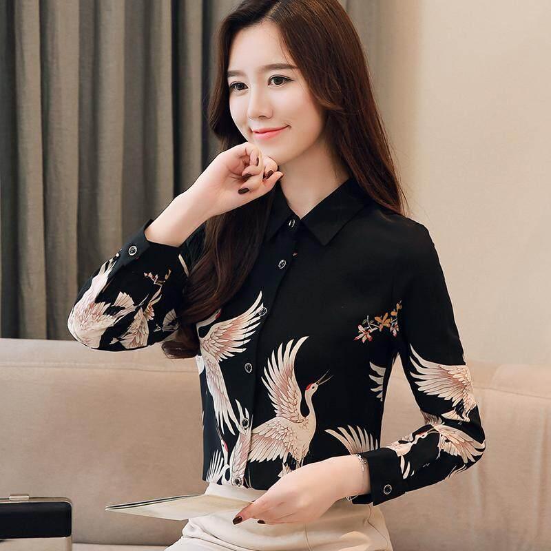 Kamus Kaus Mode Wanita Lengan Panjang Longgar Vintage Crane Cetak Blus Sutra Bunga Kaus Elegan
