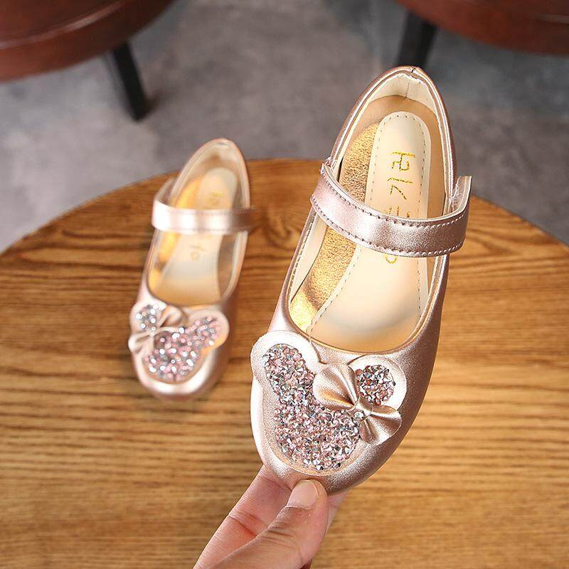 9a94105ecd9b2 Girls Shoes Kids Fashion Flats Glitter Rhinestone With Bow-knot Princess  Sweet Children Leather Shoes