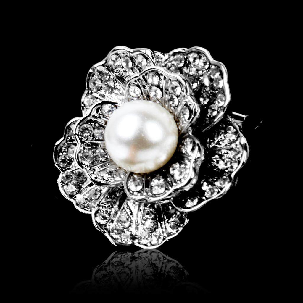 GuangquanStrade Flower Rhinestone Crystal Wedding Bouquet Faux Pearl Silver Brooch Pin