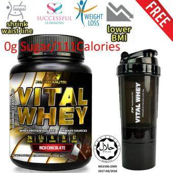 Slimming / Diet / Meal Replacement Shake – Vital Whey 1kg Halal 24g Protein, 0g Sugar, 111 Calories, 33 Servings - (Chocolate Milkshake) + FREE Official Vital Whey Shaker 500ml vs Herbalife Formula 3 (F3) - Blended Soy and Whey Protein Powder