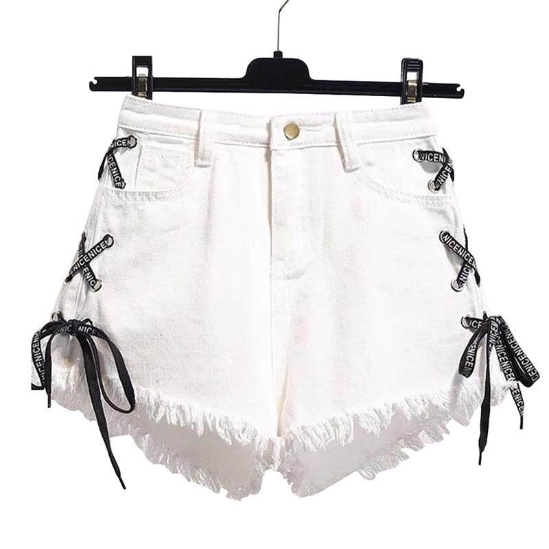 ff18a916fa Women Summer Sexy Tassel Shorts Casual Side Bandage Tassels Jeans Shorts  High Waist Denim Short Pants
