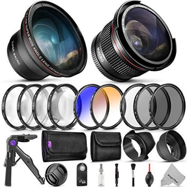 Profesional 58 Mm Lensa & Bundel Saringan untuk Canon-Lengkap DSLR/Kamera Mirrorless Aksesori Kit-Sudut Lebar dan Lensa Mata Ikan, filter Kit (Penutup Makro-Up Set UV, Cpl, ND4, Warna) tripod Mini & More-Intl
