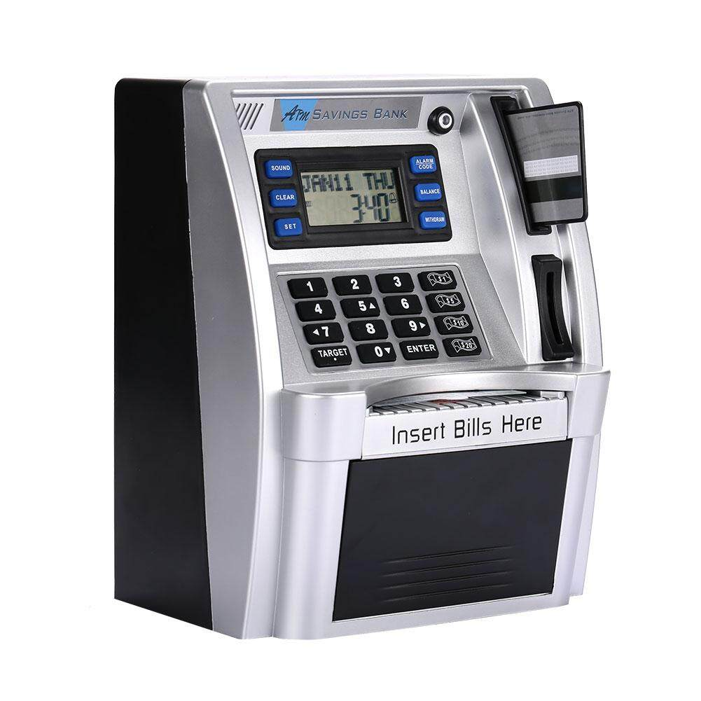 Premium Silver Password Box with LCD Screen ATM Saving Banks ATM Piggy Bank ATM Money Boxes