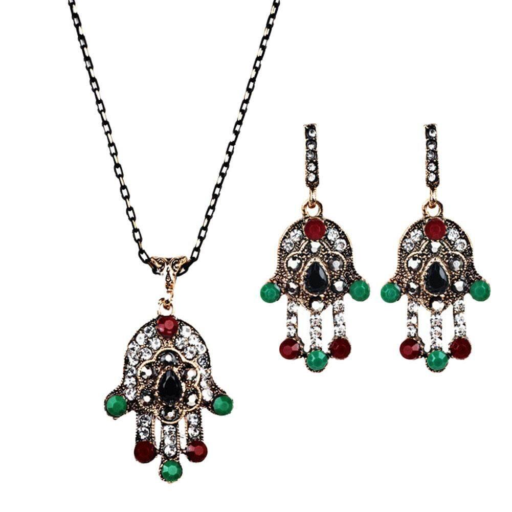 Linfang Wanita Bohemia Kreativitas Berlian Kalung Liontin Anting-Anting Temperamen Perhiasan Vintage Set-Intl